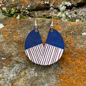 Peony Earrings (Navy)