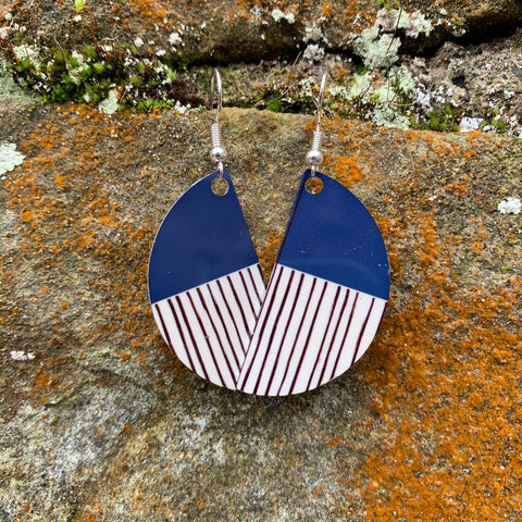 New! Peony Earrings (Navy)