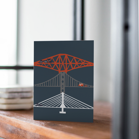 Forth Bridges At Night Card (with free postage)