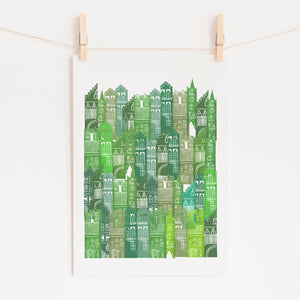 Edinburgh Cityscape Print (Greens)