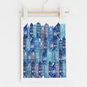 Edinburgh Cityscape Print (Blues)