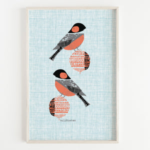 Bullfinch Pair Art Print