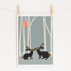 Sunset Hares Art Print