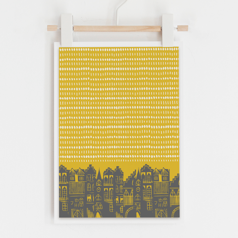 An Edinburgh Day Art Print (Mustard)