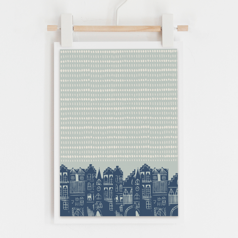 An Edinburgh Day Art Print (Duck Egg Blue)