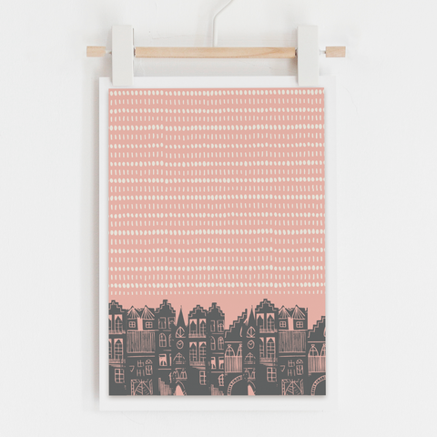 An Edinburgh Day Art Print (Pink)