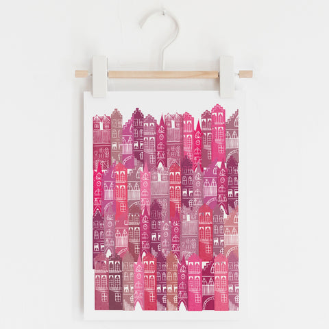 Edinburgh Cityscape Print (Pinks)
