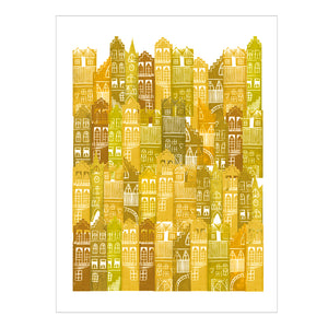 Edinburgh Cityscape Print (Yellows)