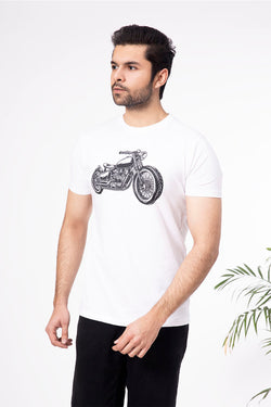 White Motor Cycle Crew Neck Shirt