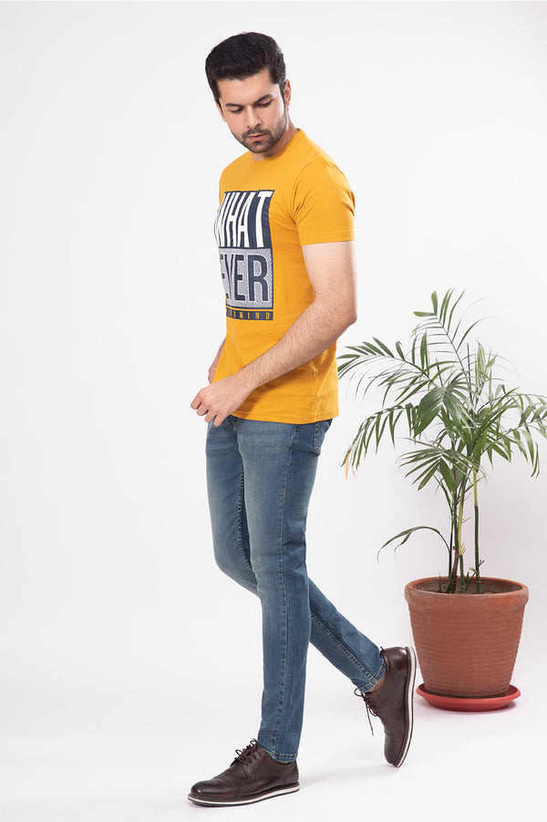 Mustard White Crew Neck Shirt