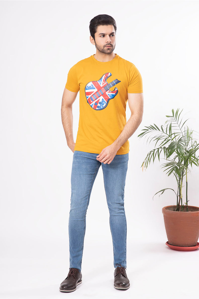 Mustard Guitar Crew Neck Shirt
