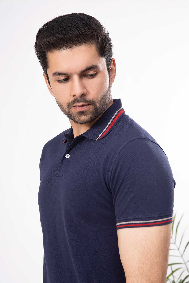 Navy Blue Red Tape Polo Shirt