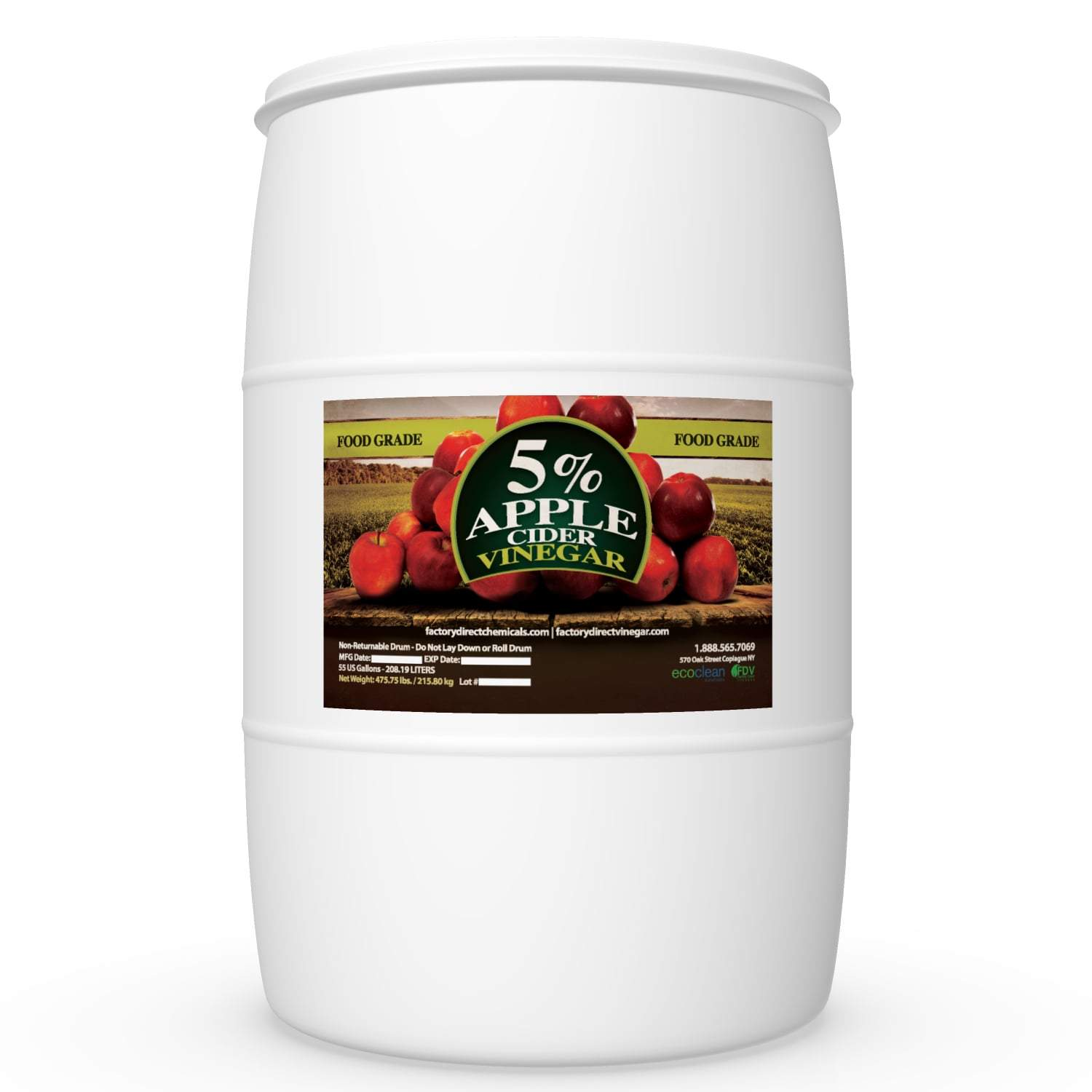Organic Apple Cider Vinegar, 5% - 55 Gallon Drum
