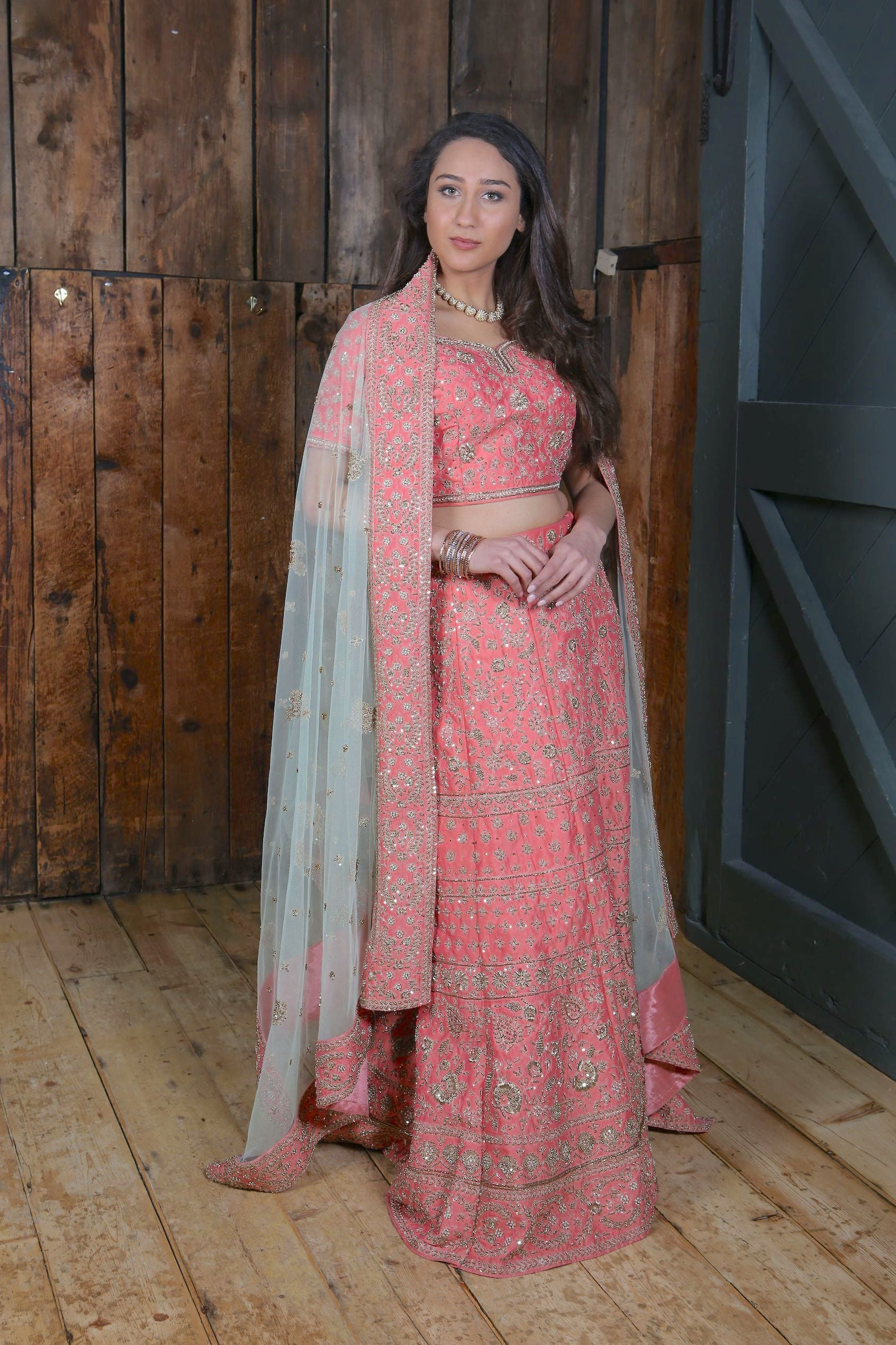 Bridal Peach silk /Light green/Zardozi