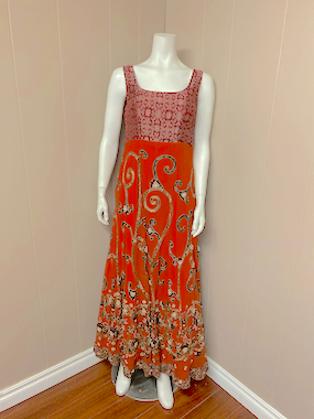 Anarkali floor length/Orange/Zardozi