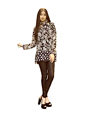 Black and white printed top/tunic/kurta