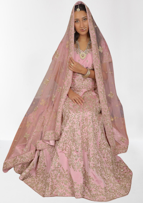Beautiful Bridal Light Pink Zardozi Lahenga