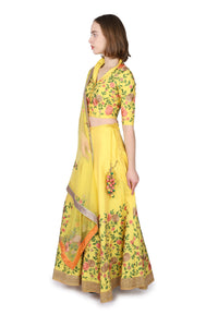 Yellow Floral Lahenga/Custom order only