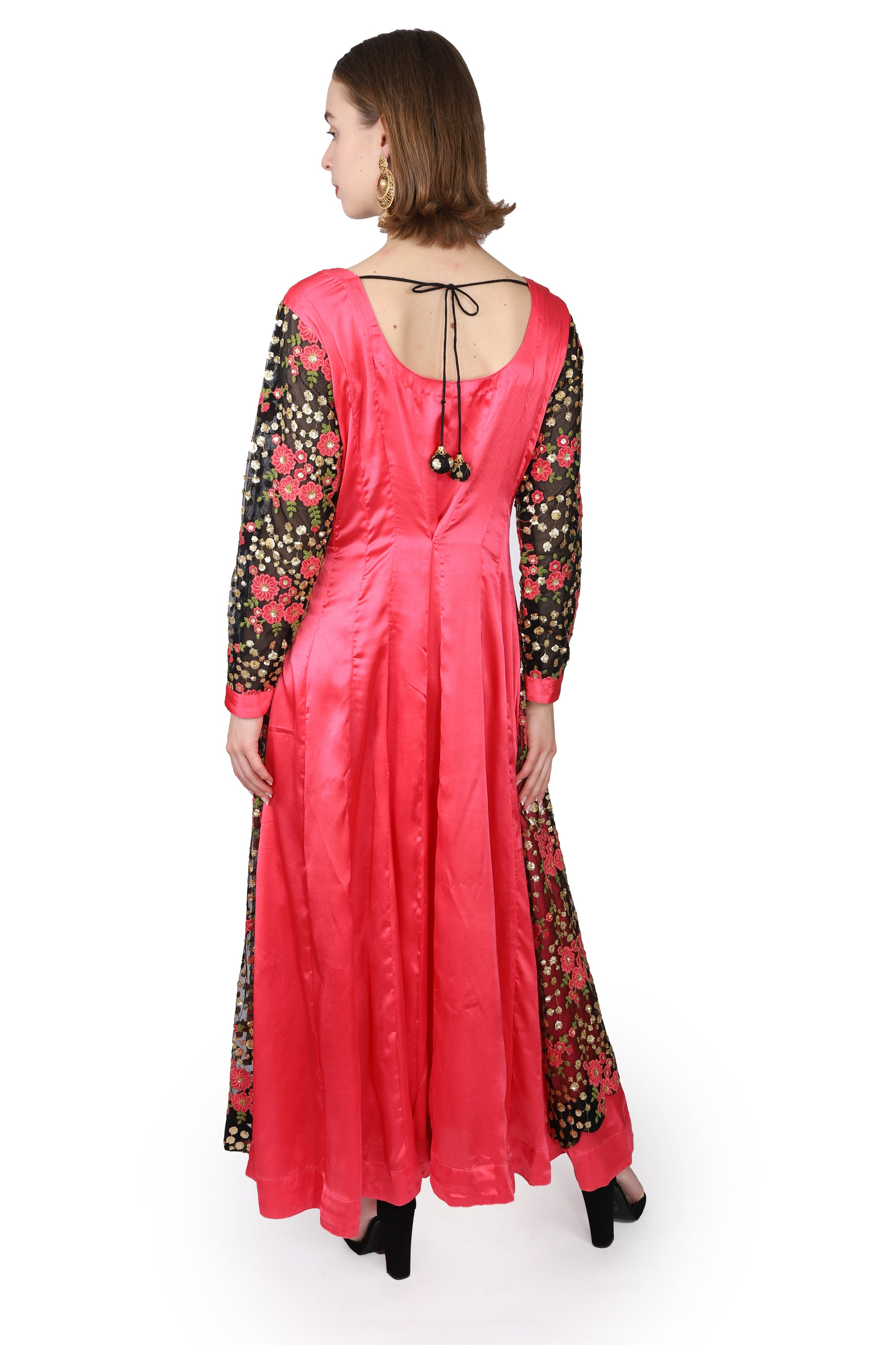 Indian style gown/Coral/Black embroidered net
