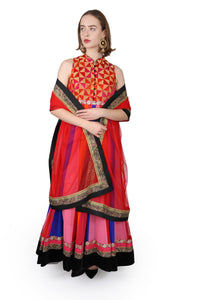 Multi coloured georgette anarkali/One of a kind