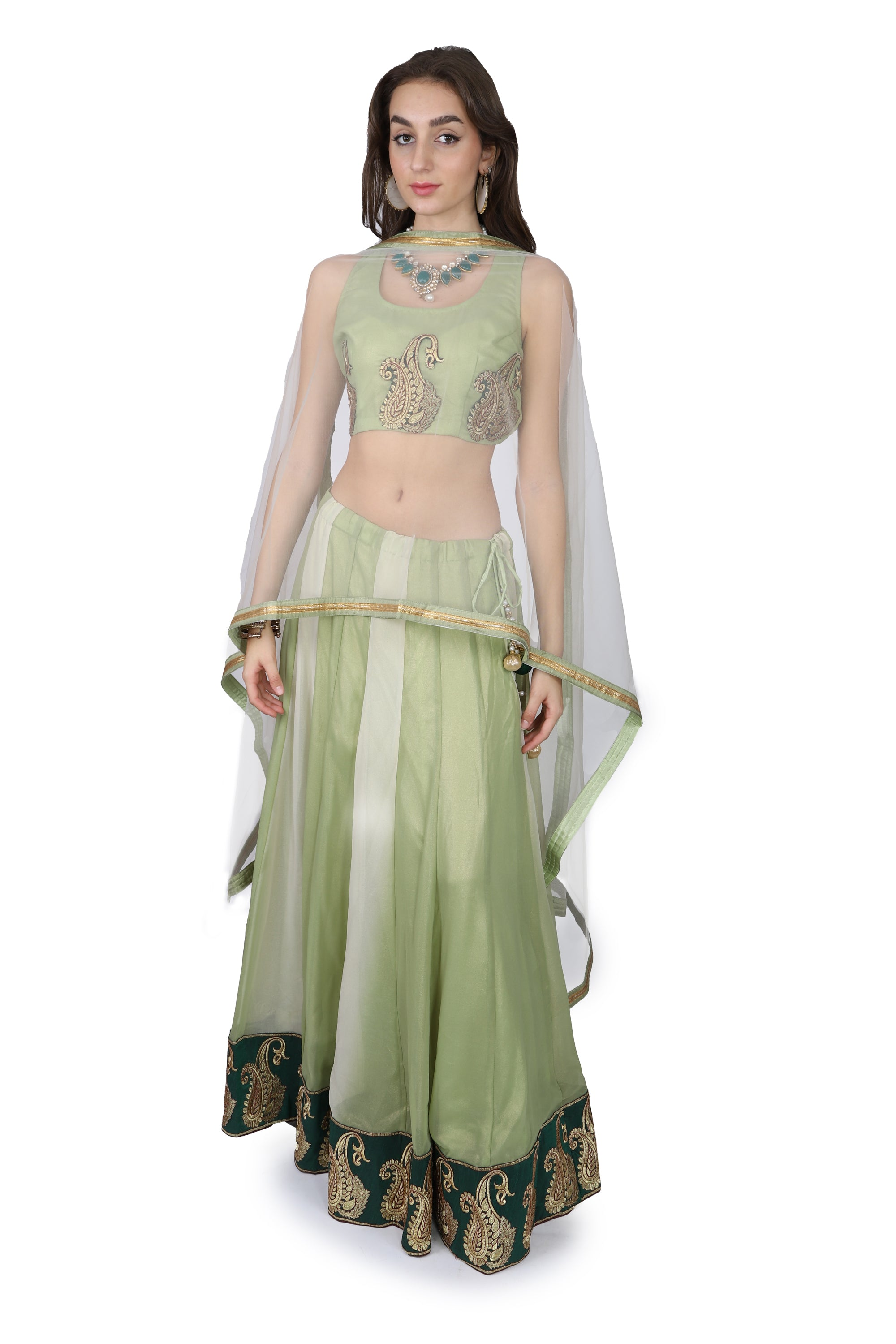 Green shimmer georgette Lahenga /One of a kind