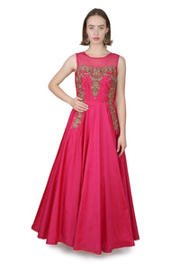 Magenta Pink silk gown/Gold hand embroidery