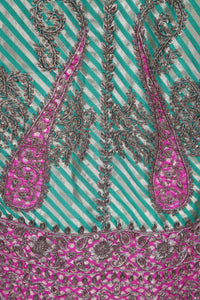Green striped brocade/Magenta/Paisley Zardozi/Gold
