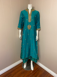 Teel green floor length/dress/anarkali