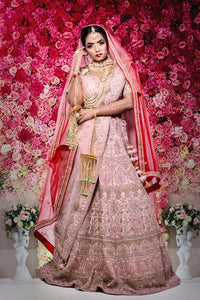 Bridal/ Pink Silk Lahenga/Custom only