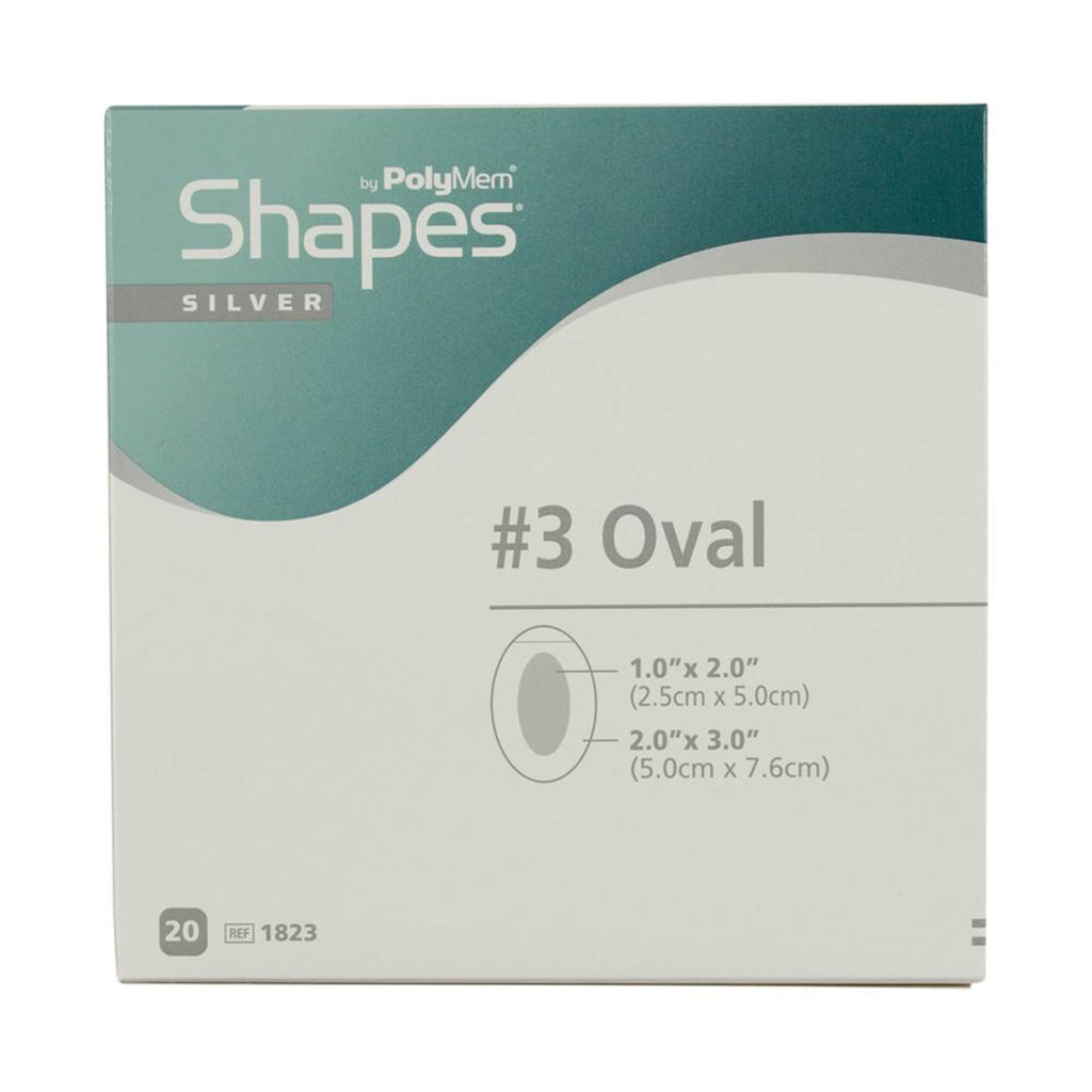 POLYMEM SHAPES OVAL ADHESIVE SILVER DRESSING ,2