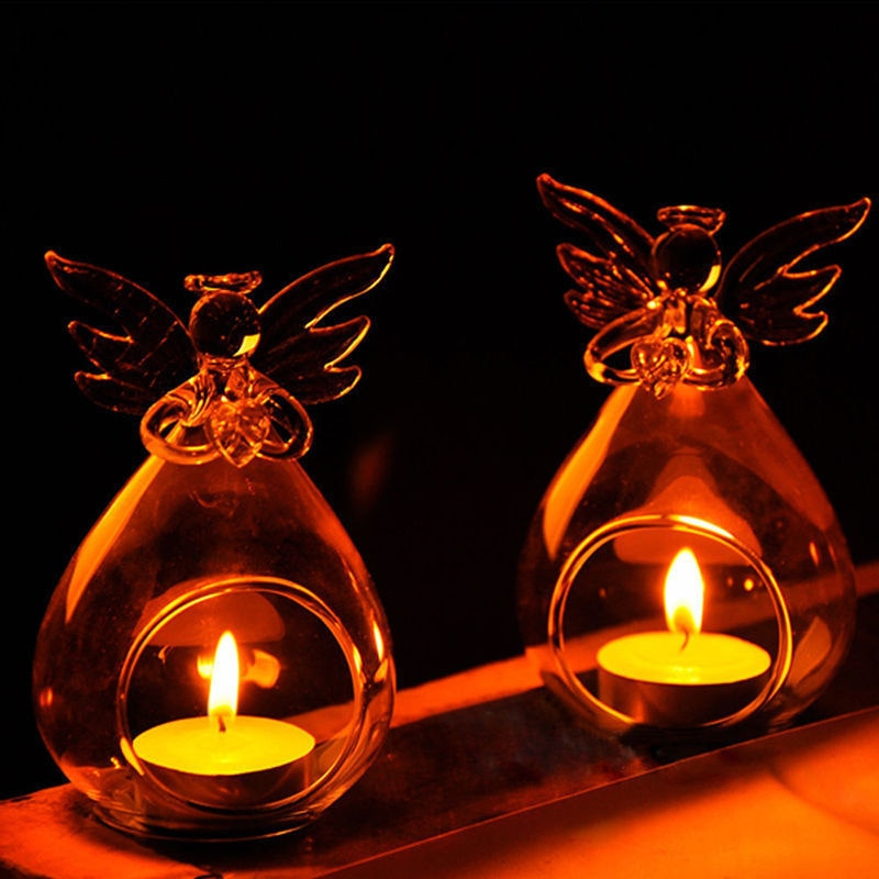 Angel Crystal Glass Candle Holder