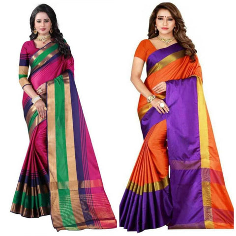 Stylish Cotton Silk Saree With Blouse Piece (Combo Of 2)