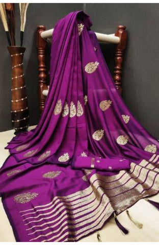 Stylish Vichitra Silk Embroidered Saree With Running Blouse