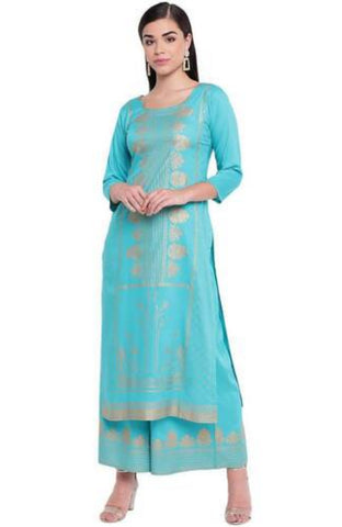 Stylish Turquoise Rayon Foil Printed Long Straight Fit Kurta And Flared  Printed Palazzo Set
