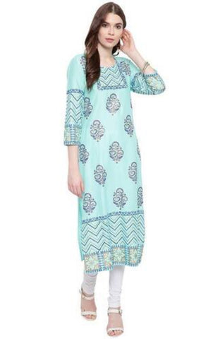 Foil Printed Straight Fit Rayon Turquoise Color Kurta