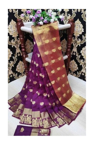 Women's Jacquard Cotton Silk Saree with Blouse Piece