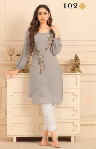 Premium Georgette Embroidery Kurta And Santoon Inner With Rayon Bottom