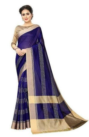 Women's Beautiful Cotton Silk Saree With Blouse