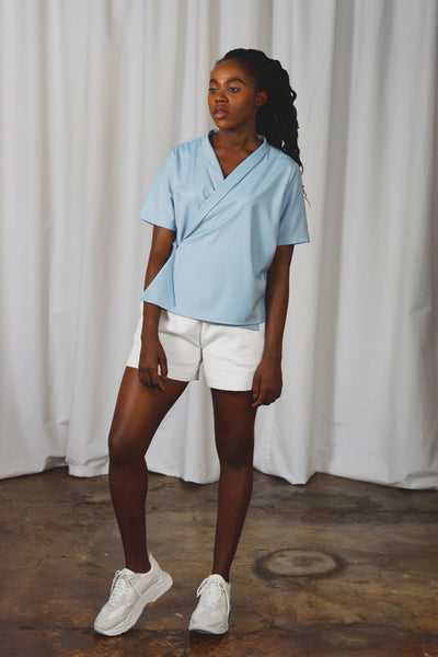 Grayson Wrap Shirt - Light Blue