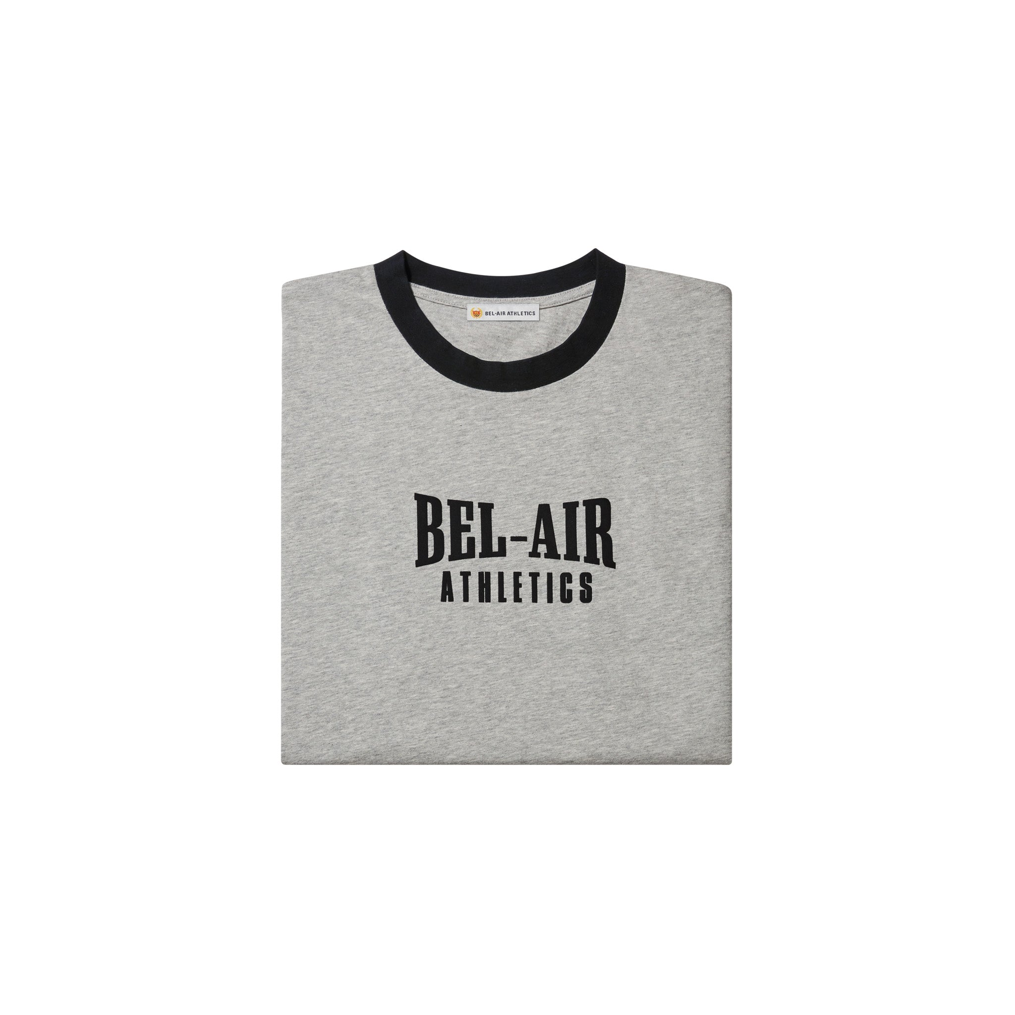 Puff print logo tshirt - Colorblock Athletic Grey+Vintage Black