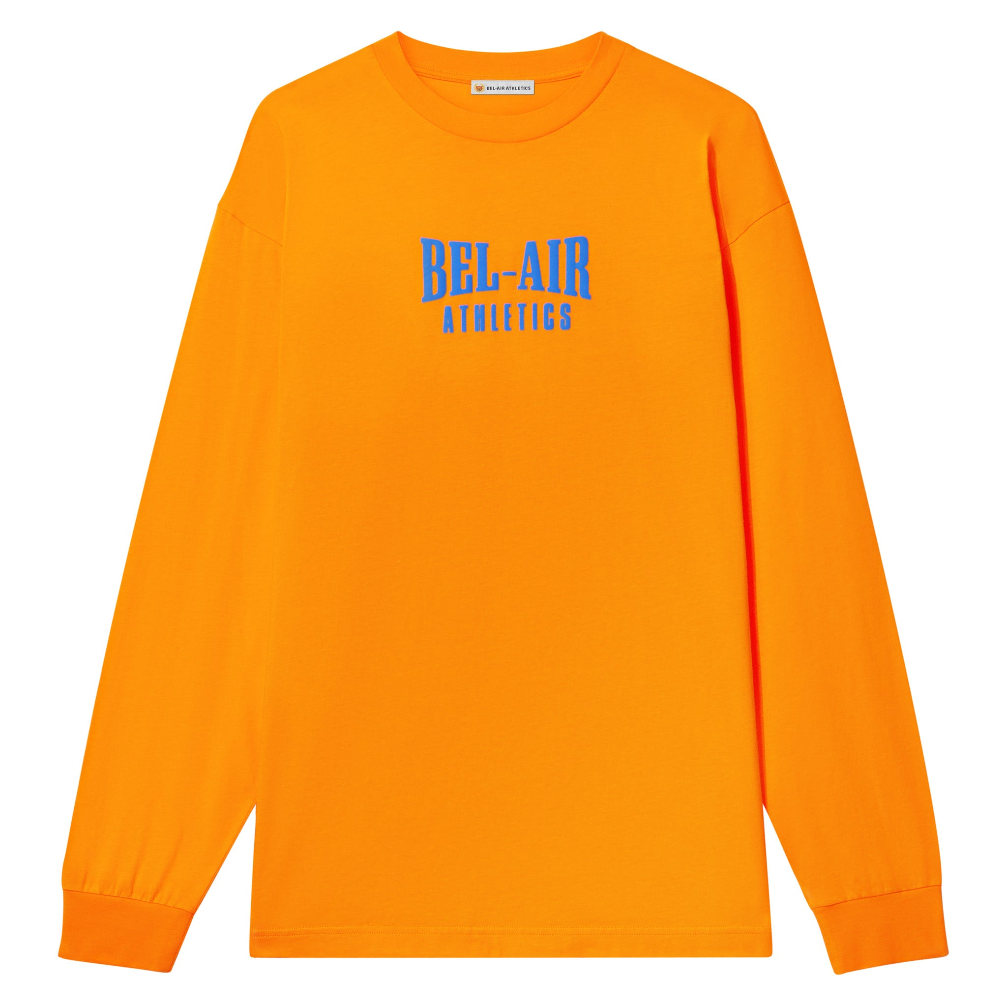 Puff print logo LS tshirt - Sunset with Varsity Blue print