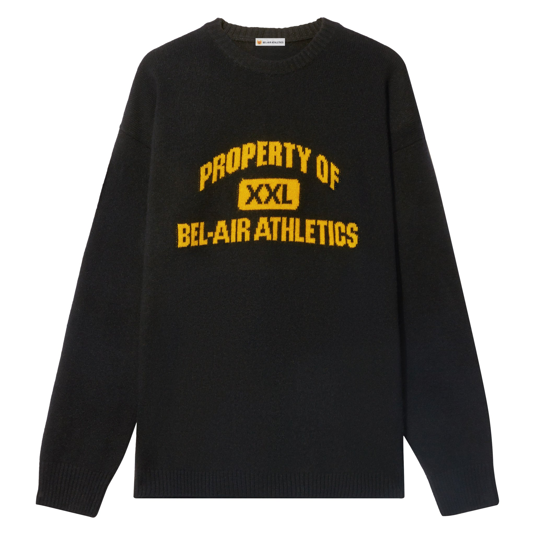 Property of Intarsia Knit - Vintage Black with Collegiate Gold Intarsia
