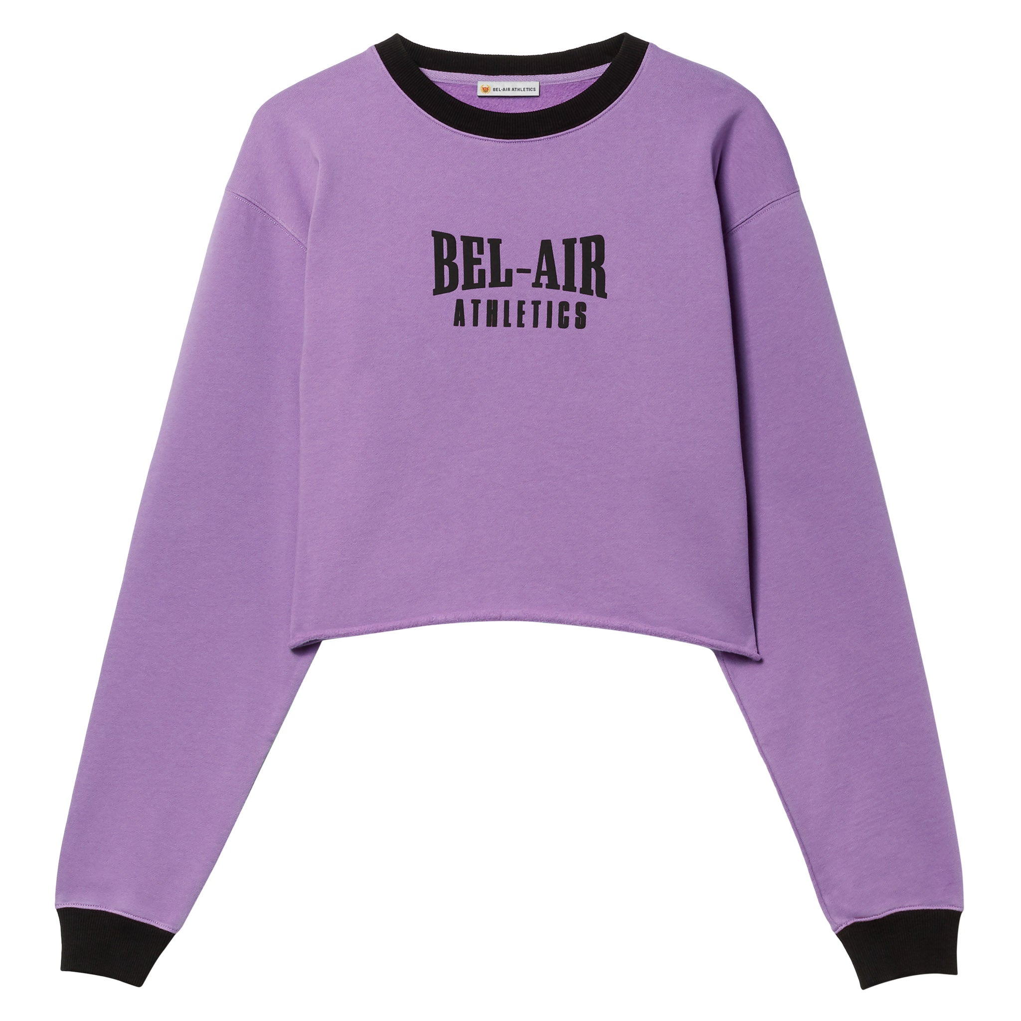 Puff logo cropped crew - Colorblock Sorority Pink/Vintage Black