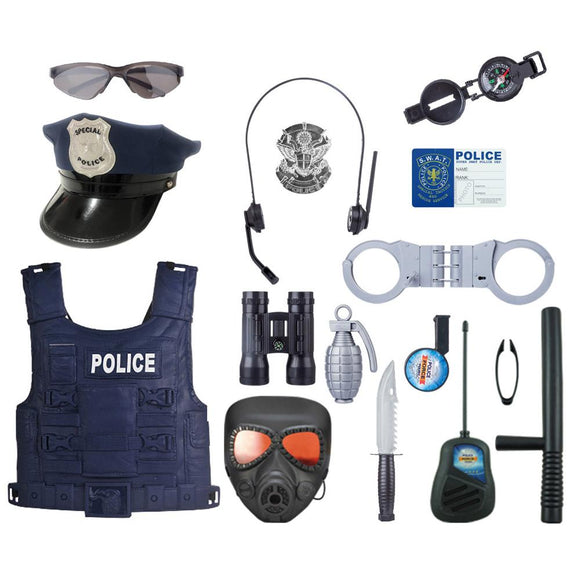 18/Pcs Police Officer Role Play Kit Kids-theradiowar-theradiowar
