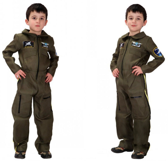 Army Boys Soldier Jumpsuit Role Play Military Airforce Uniform-theradiowar-theradiowar