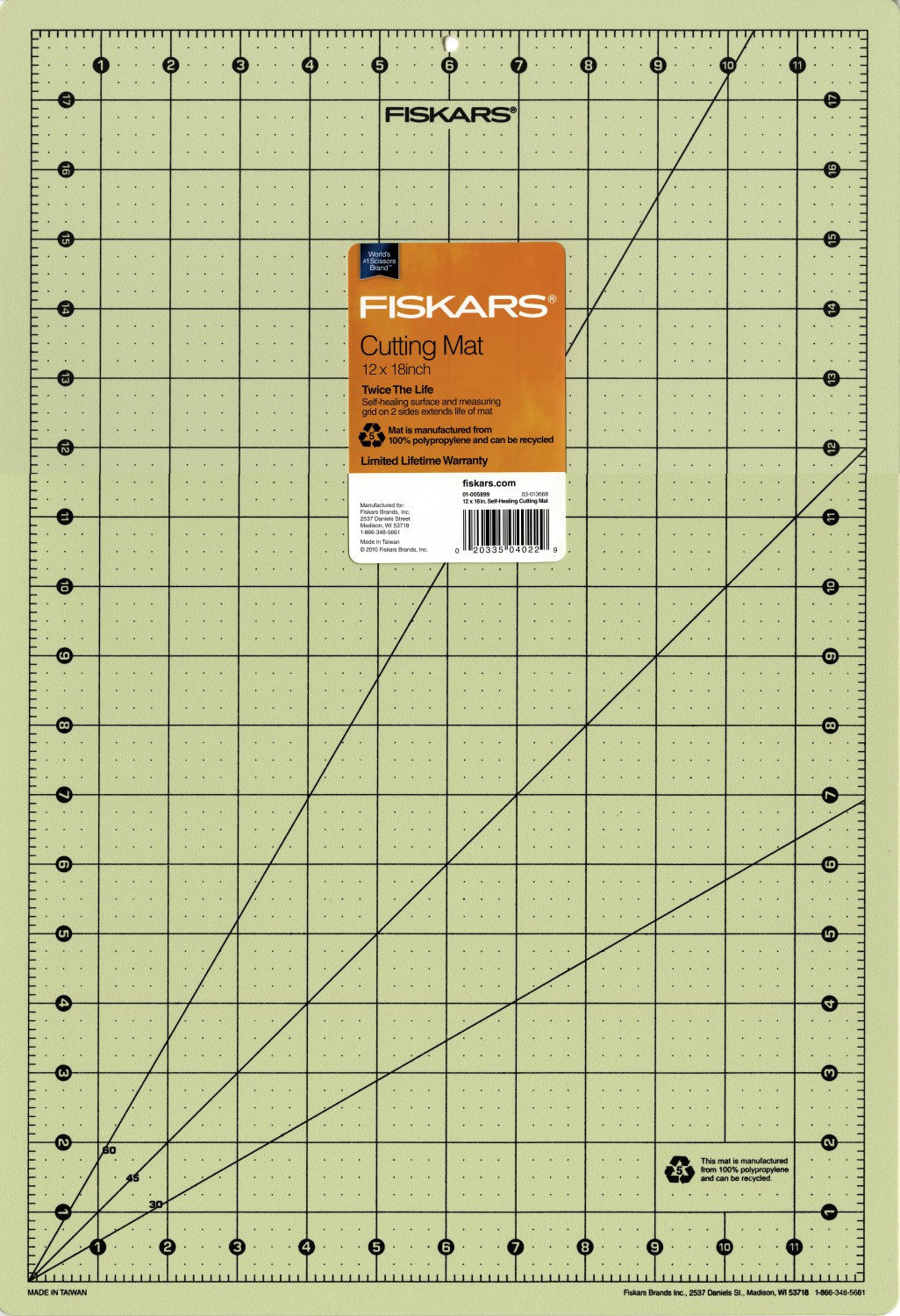 "Fiskars<sup>®</sup> Eco Friendly Cutting Mat 12"" x 18"""
