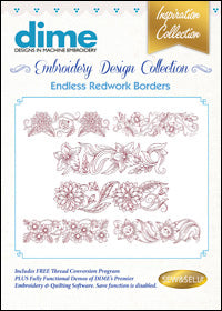 Dime Embroidery Design Collection - Endless Redwork Borders