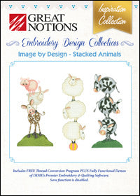 Great Notions Embroidery Design Collection - Image By Design - Stacked Animals
