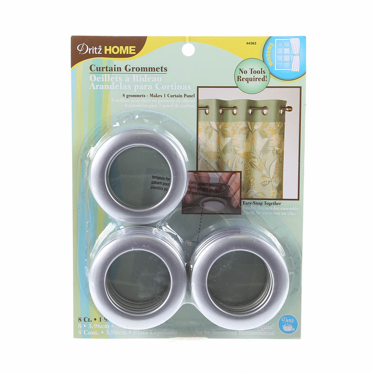 Dritz Large Curtain Grommets 1 916 Inch 8ct Tops Sewing