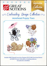 Great Notions Embroidery Design Collection - Morehead Puppy Toes